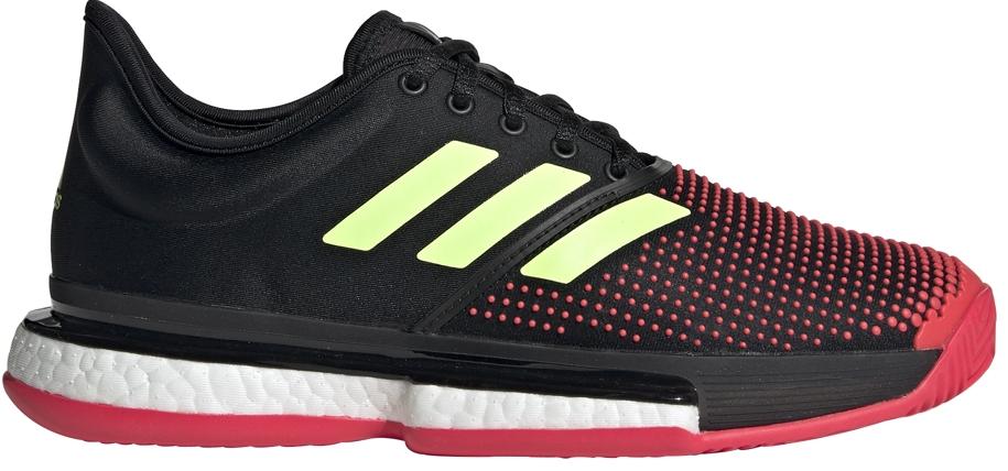 0b806e543ae7 Adidas Women s SoleCourt Boost Tennis Shoe (Black Yellow Shock Red) - Do It  Tennis