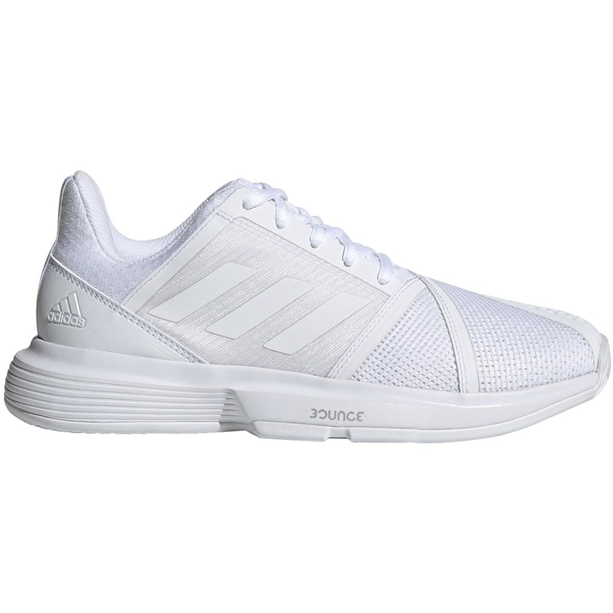 Adidas Women's CourtJam Bounce Tennis Shoes (White/Matte Silver) $73.95