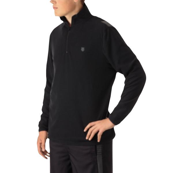 K-Swiss Men's Long Sleeve Quarter Zip Tennis Pullover (Puma Black/Dark Shadow)
