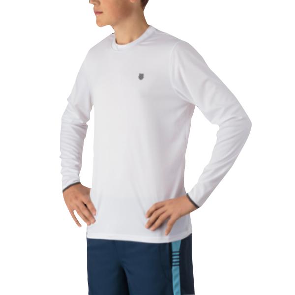 K-Swiss Men's Long Sleeve Tennis Crew (White)