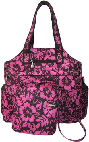 Jet Pink Hibiscus Tennis Tote Bag
