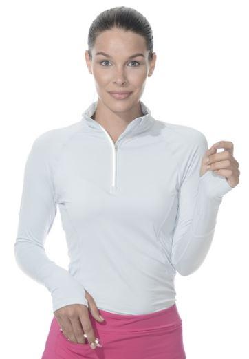 Bloq-UV Mock Zip Long Sleeve Top (Soft Gray)