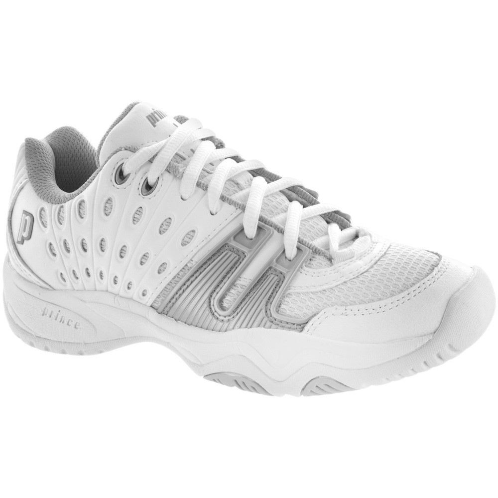 Prince Junior's T22 Tennis Shoes (White/Silver)