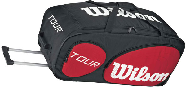 Wilson Tour Traveler Tennis Bag With Wheels Blk Red Wht Do It